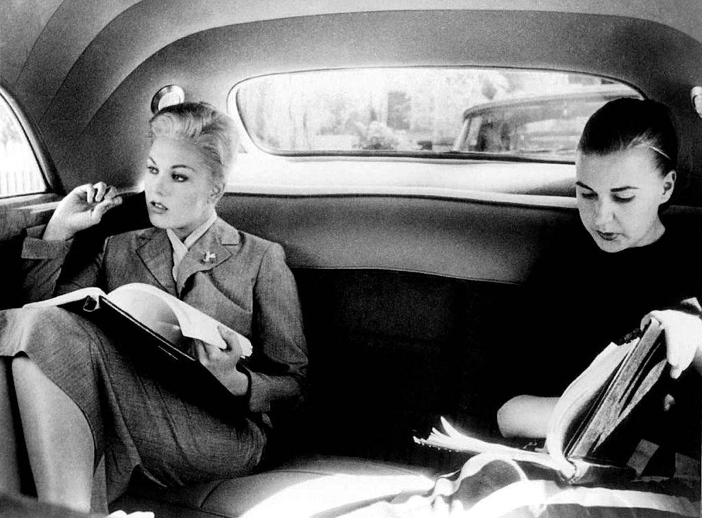 American actress Kim Novak on the set of Vertigo, directed and produced by British Alfred Hitchcok.