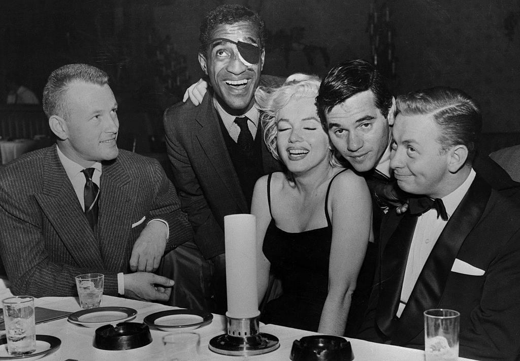 This is the first public appearance for Sammy Davis Jr., since the loss of his eye in an auto accident.
