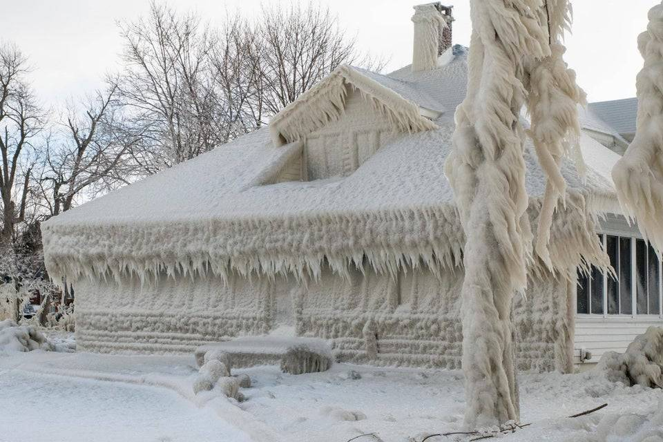 ice covering a house