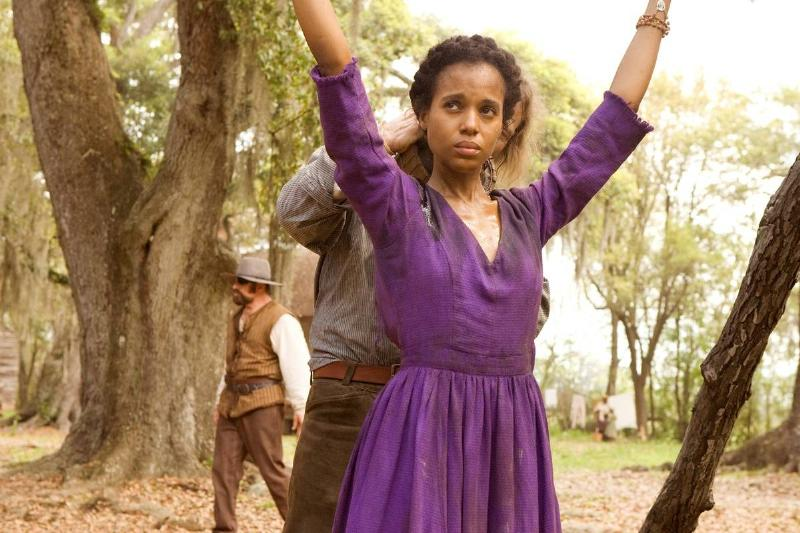 kerry washington wearing a purple dress in django unchained