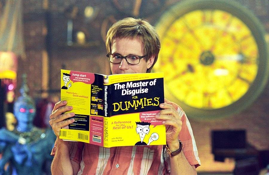 dana carvey reading a for dummies book in the master of disguise