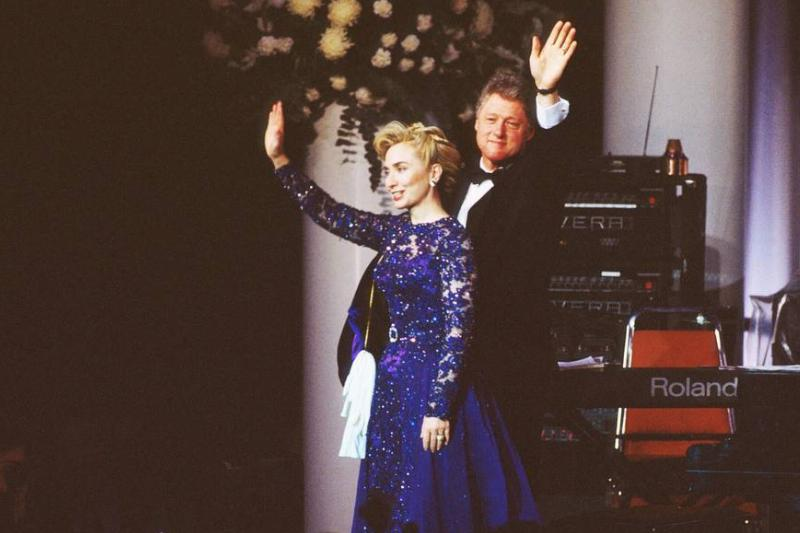 Bill and Hillary Clinton wave at the 1993 inaugural ball.