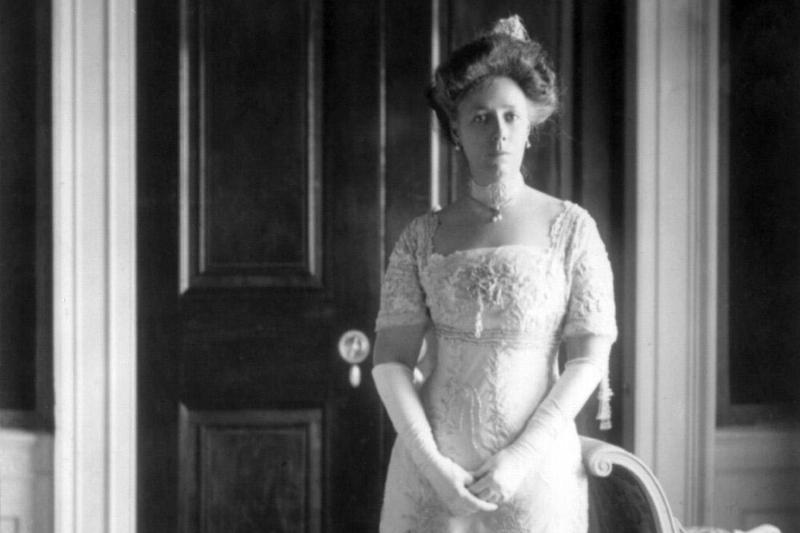 Helen Taft poses in her inauguration gown.