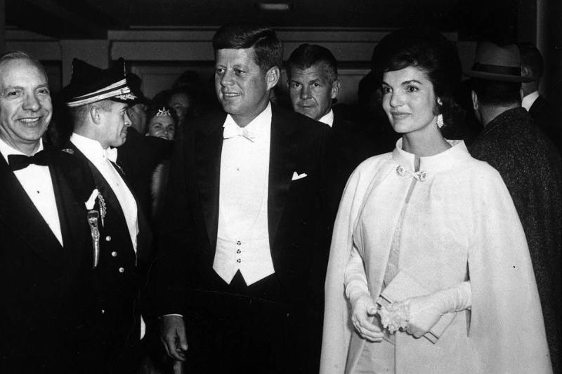 John and Jackie Kennedy appear at the inaugural ball in 1961.