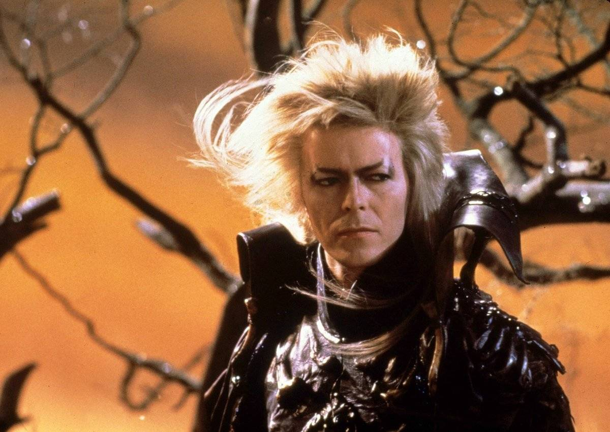 David Bowie acts as Jareth in a Labyrinth publicity still.