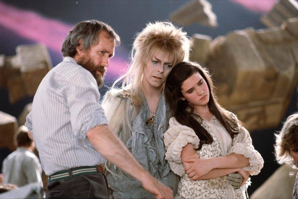 Director Jim Henson directs actors on set of the Labyrinth.