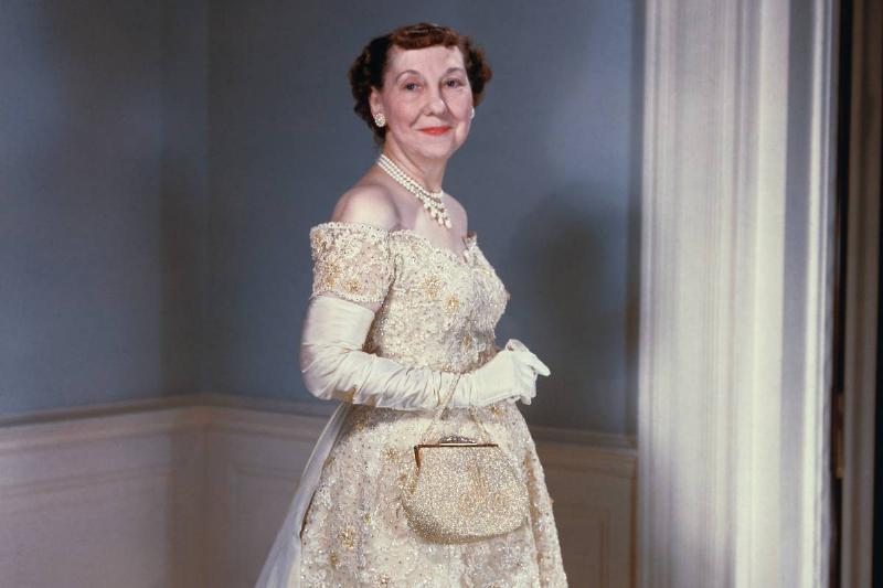 Mamie Eisenhower poses in her 1957 inaugural gown.