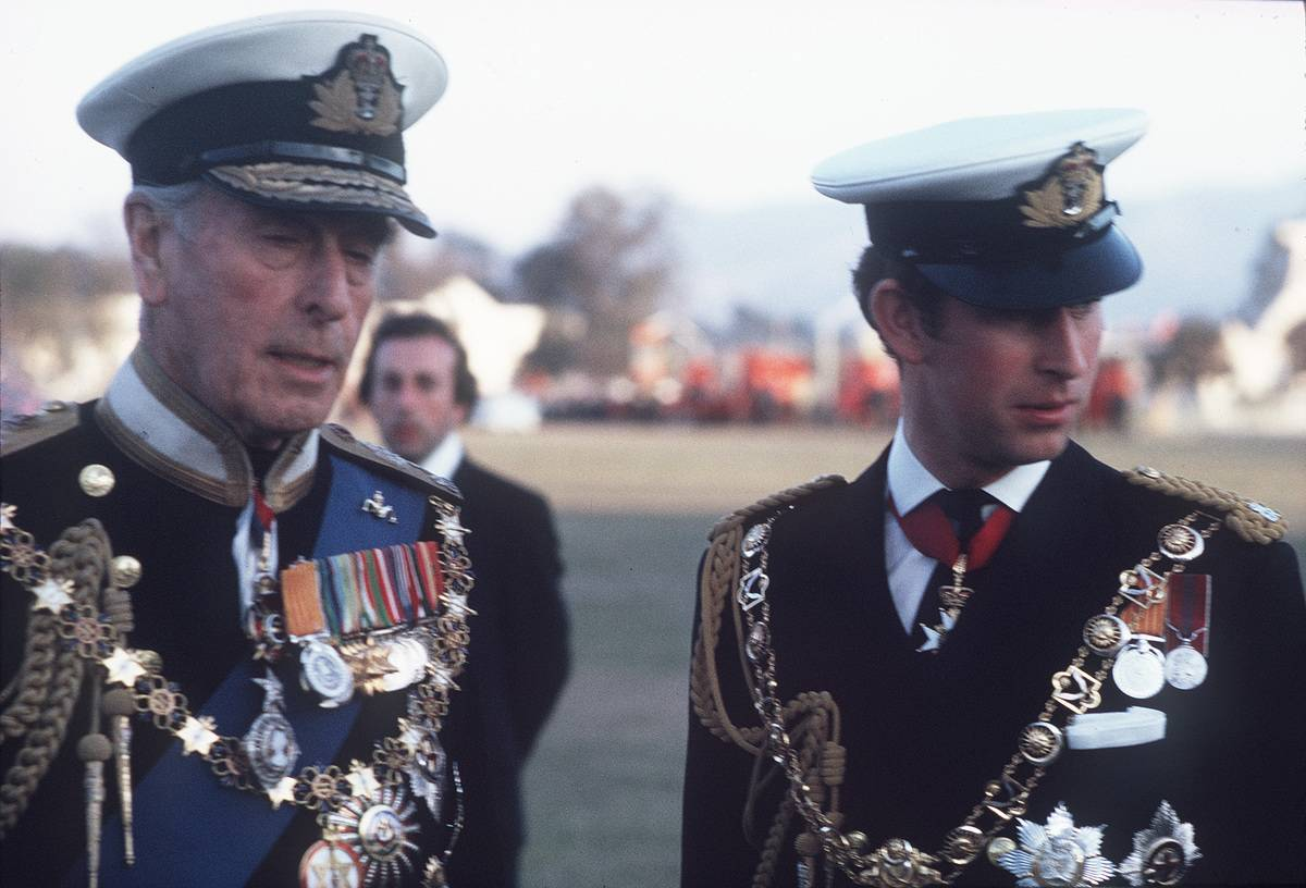 NEPrince, Charles, Prince of Wales and Lord Mountbatten, wearing full naval uniform, visit Nepal to attend the coronation of King Birendra on January 01, 1975.
