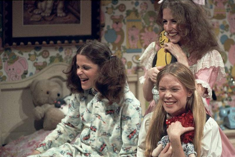 gilda radner, sissy spacek, and laraine newman dressed in pajamas