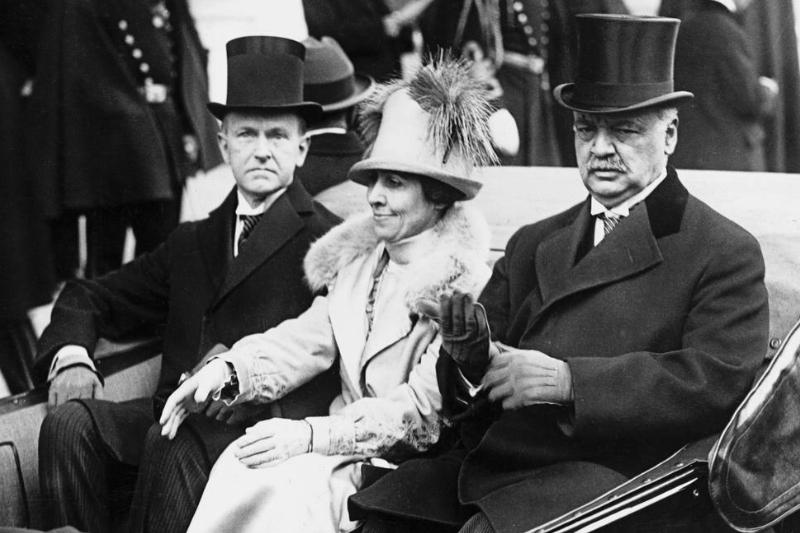 Calvin and Grace Coolidge drive with Senator Curtis on the way to the 1925 inauguration