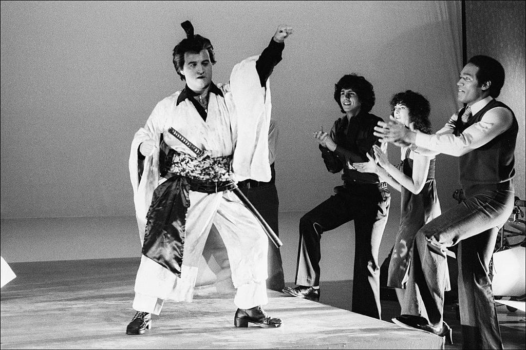 jon belushi performing as a samurai on snl