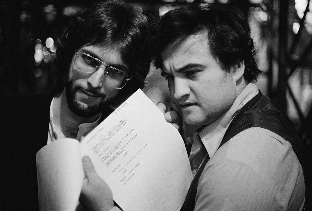 jon belushi and stephen bishop at snl rehearsal