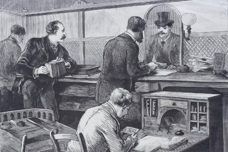 An illustration shows a bank operating in the 19th century.
