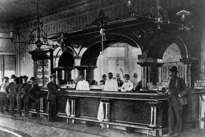 The Crystal Palace Saloon in Tombstone, Arizona Territory in 1885.