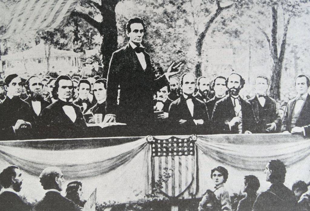 Picture of Lincoln giving a speech