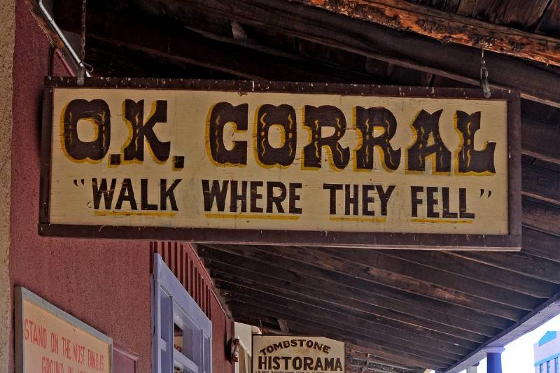 A sign shows where the O.K. Corral stood in Tombstone, Arizona.