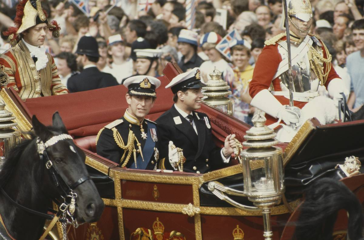 Prince Charles arrives at his wedding with his brother Prince Andrew.
