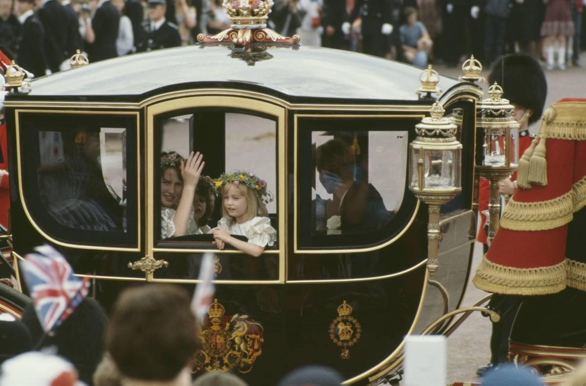 Princess Diana's bridesmaids arrive at the wedding.