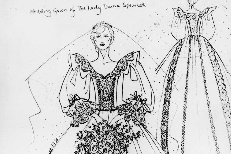 A sketch of Princess Diana's dress is seen.