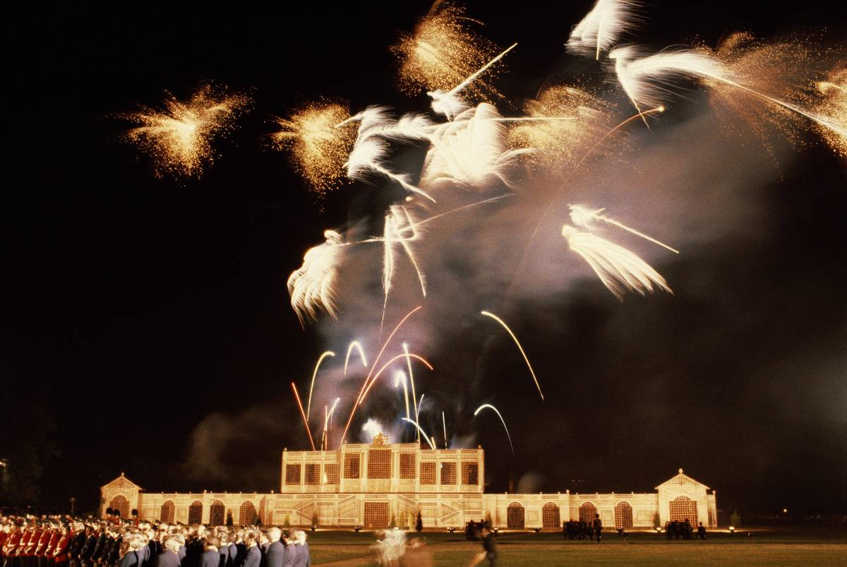 Fireworks go off above London on the night before Charles and Diana's wedding.