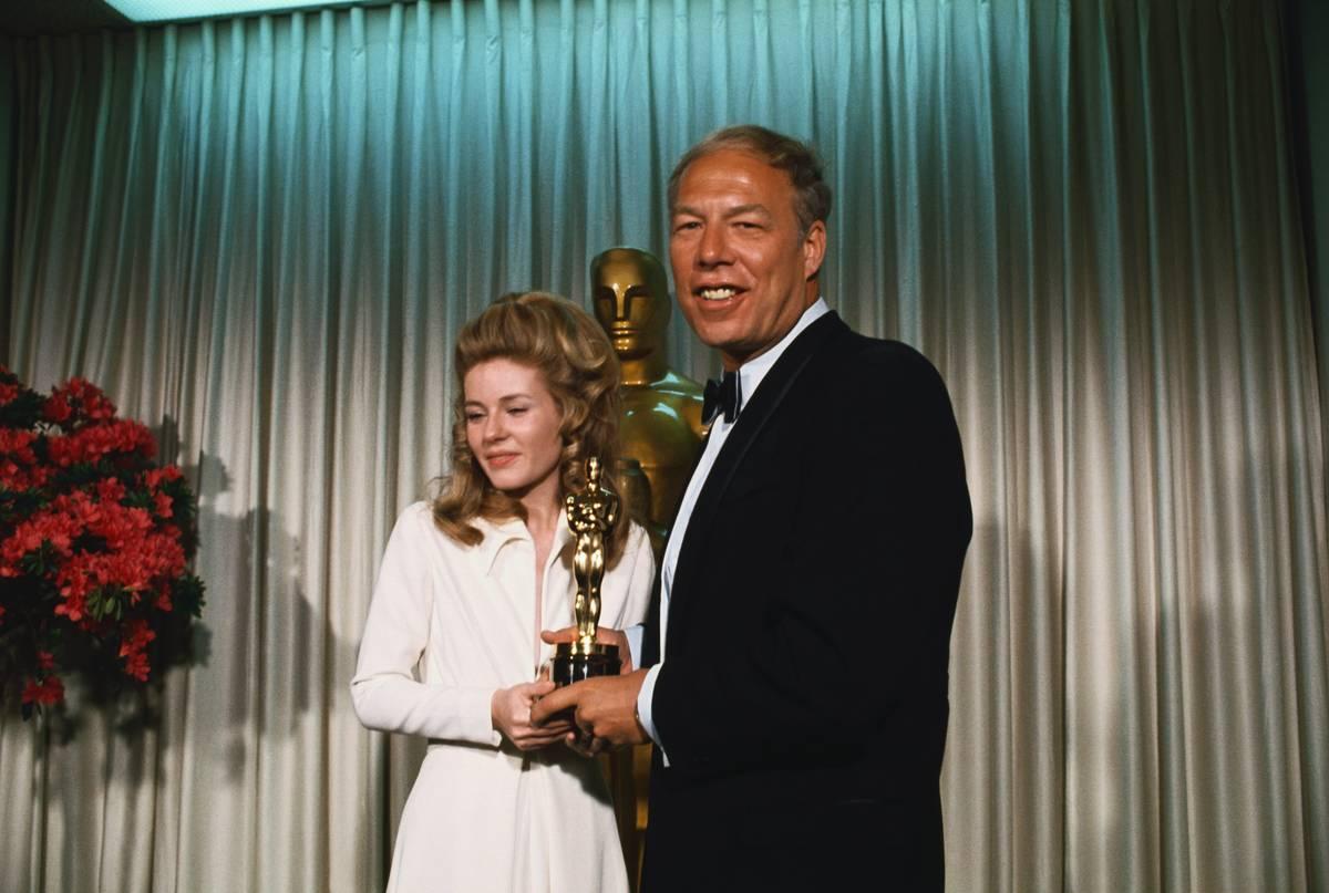 George Kennedy Receiving Oscar from Patty Duke