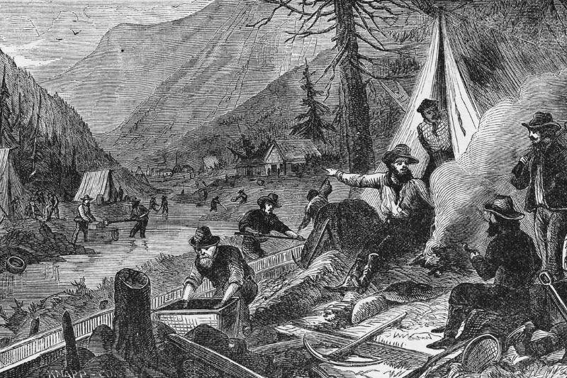 In this illustration, miners search for gold in California.