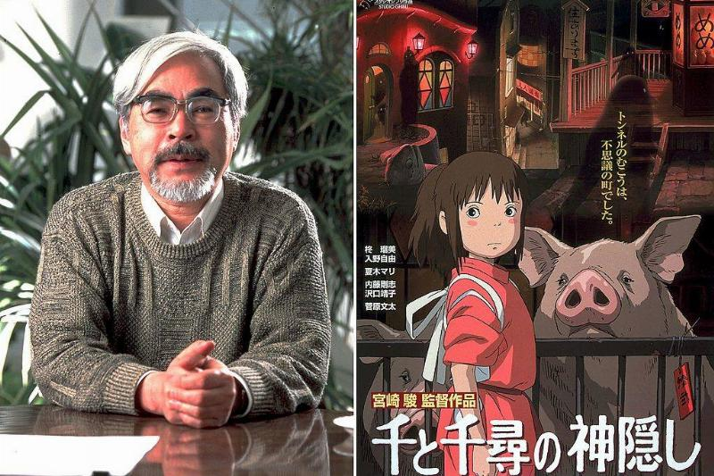 hayao miyazaki with a japanese still of spirited away