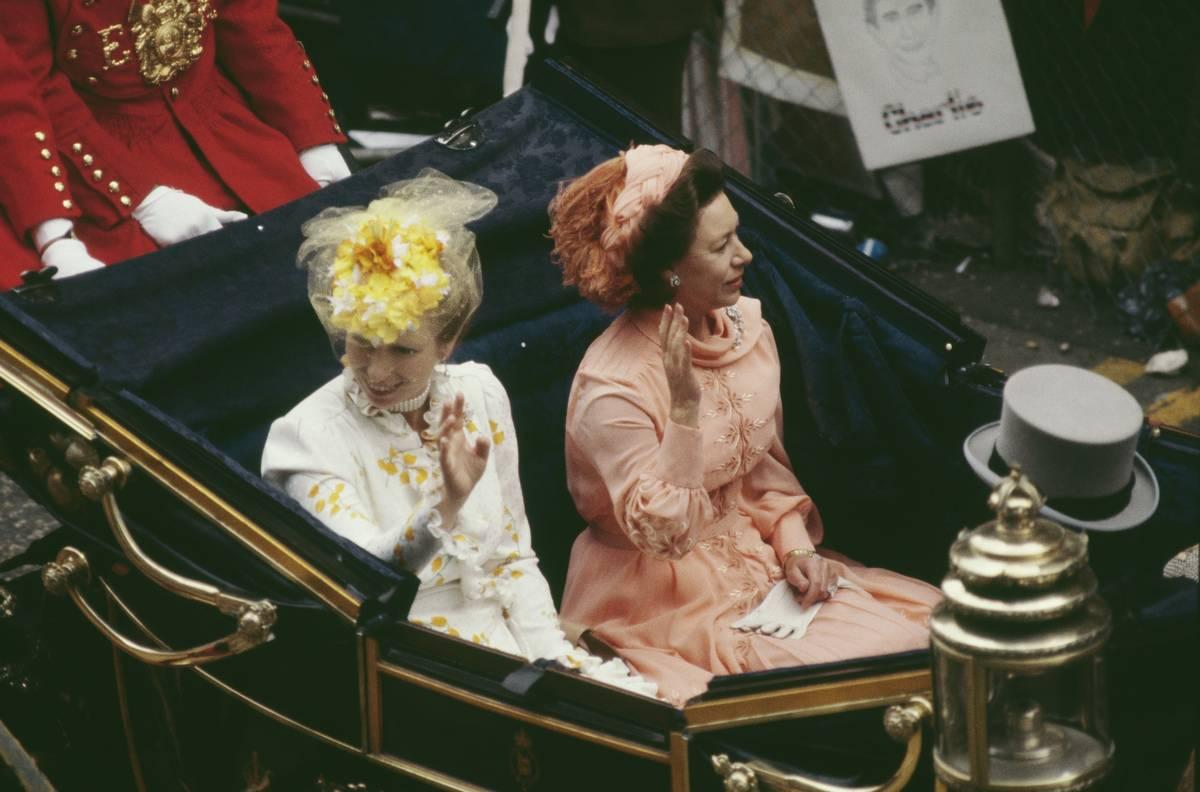 Anne, Princess Royal and Princess Margaret, Countess of Snowdon at the wedding celebrations of Prince Charles and Diana.