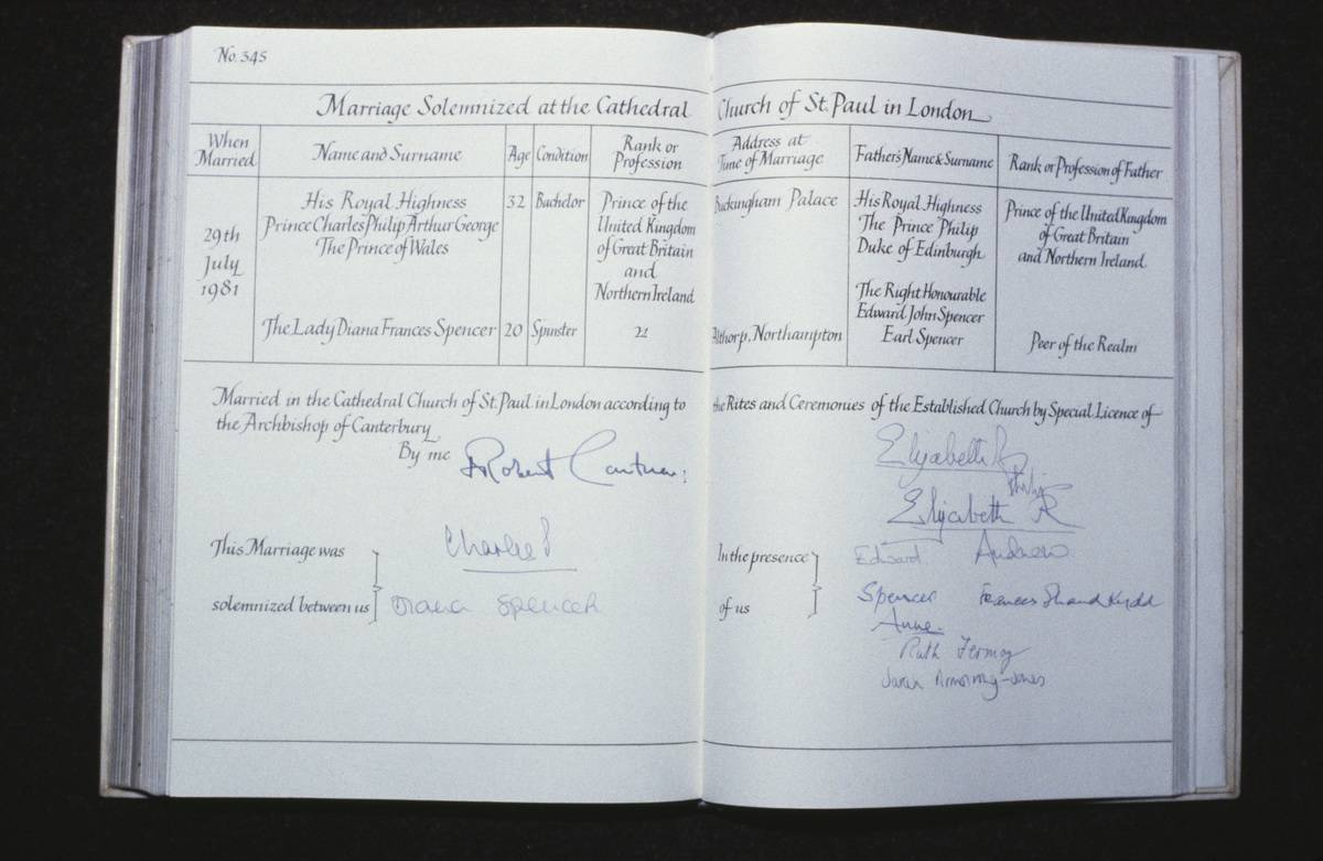 The marriage register book of Prince Charles and Lady Diana is seen.