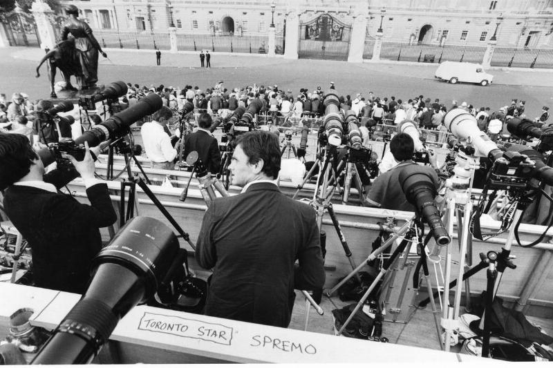 Reporters and photographers line up in front of St. Paul's Cathedral before Charles and Diana's wedding.