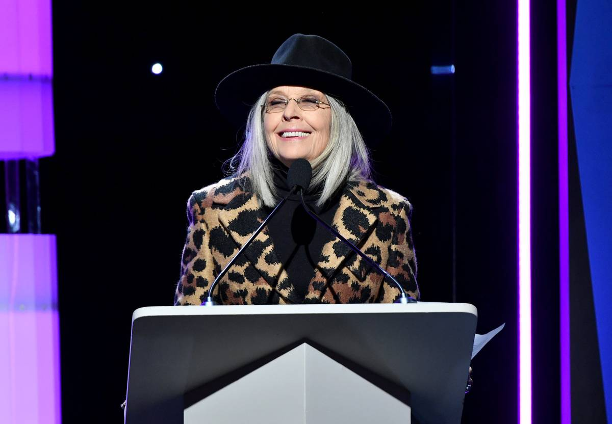 Diane Keaton speaks onstage during the 2020 Writers Guild Awards.