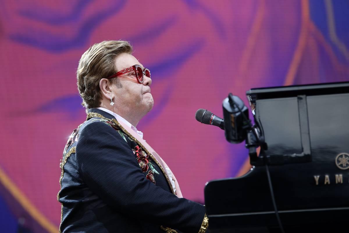 Elton John performs at Mt Smart Stadium, 2020.
