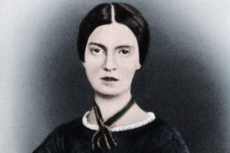 A colored portrait shows Emily Elizabeth Dickinson, circa 1846.