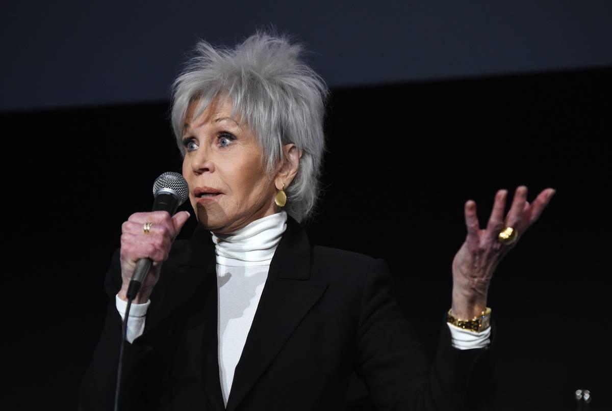 Jane Fonda speaks onstage at the premiere of