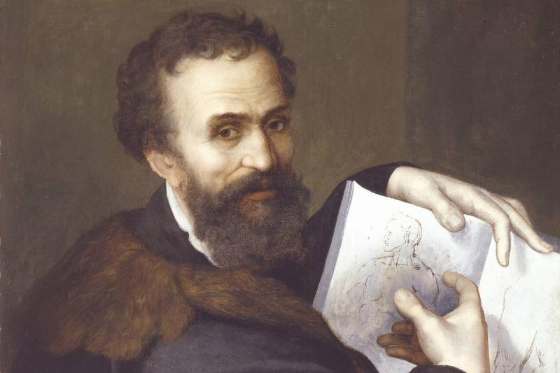 A portrait Of Michelangelo Buonarroti shows him pointing to his sketchbook.