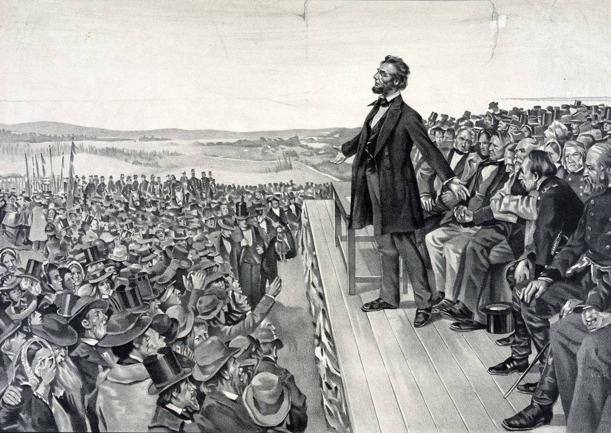 Abraham Lincoln making his famous address