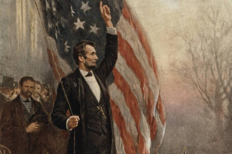 Abraham Lincoln with American flag