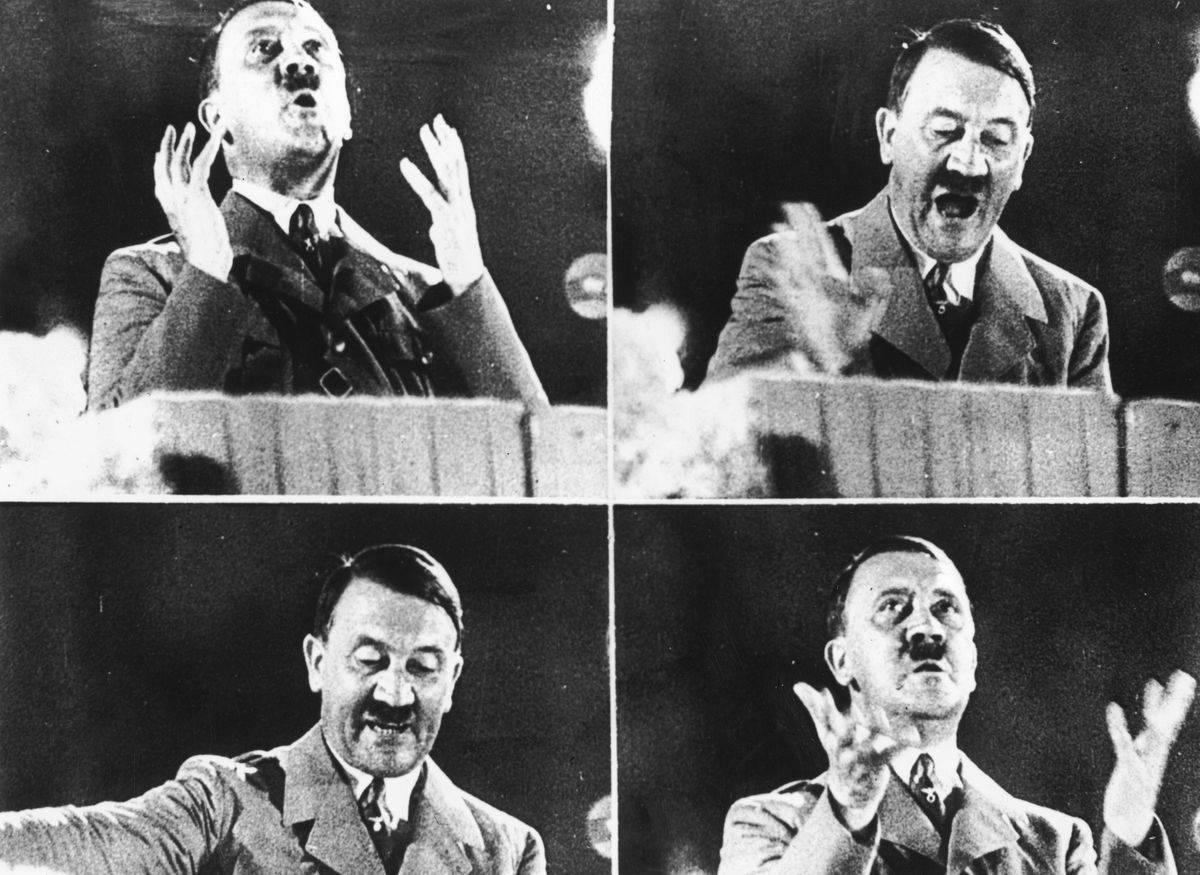 Four photos show Adolf Hitler addressing a crowd in 1944.