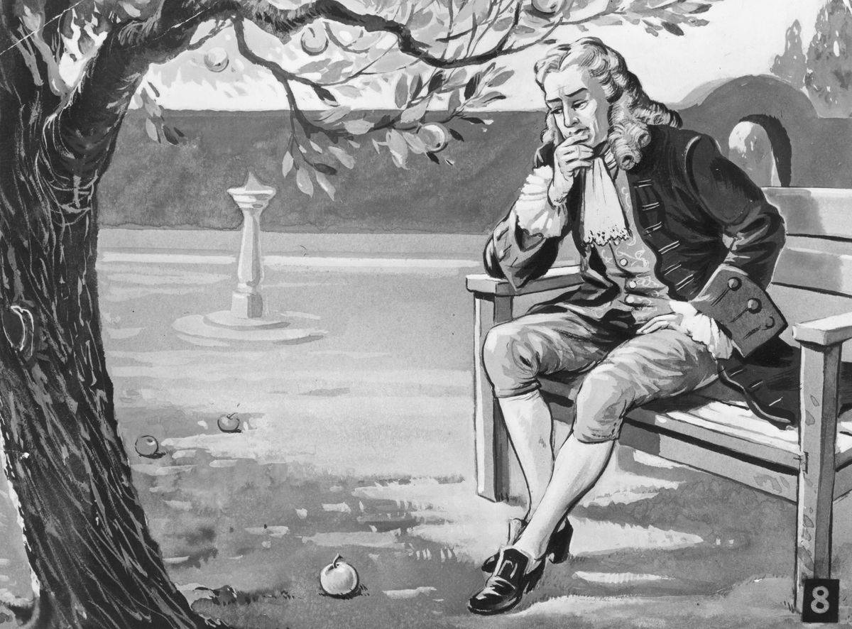 A 1665 artwork shows Isaac Newton sitting under an apple tree and thinking.