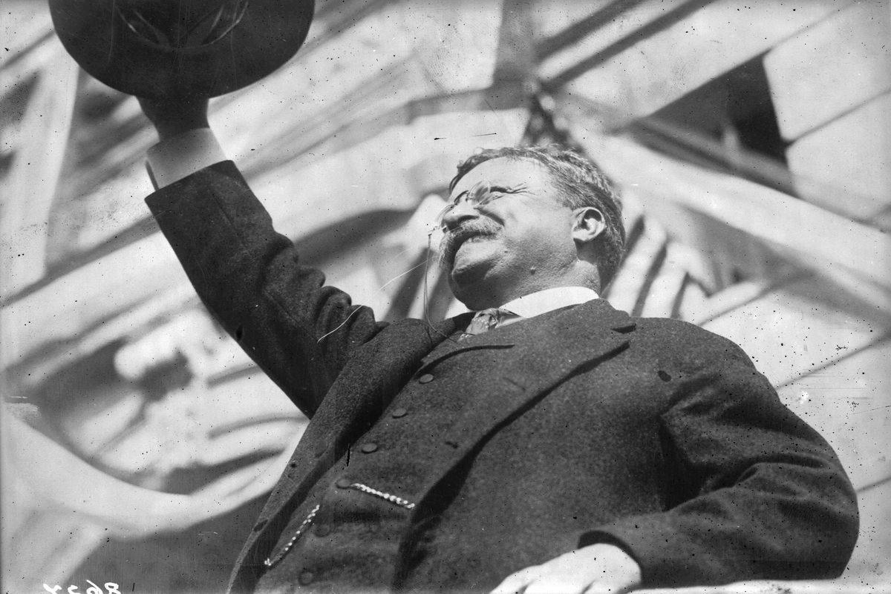 President Teddy Roosevelt speaks to a crowd in 1902.