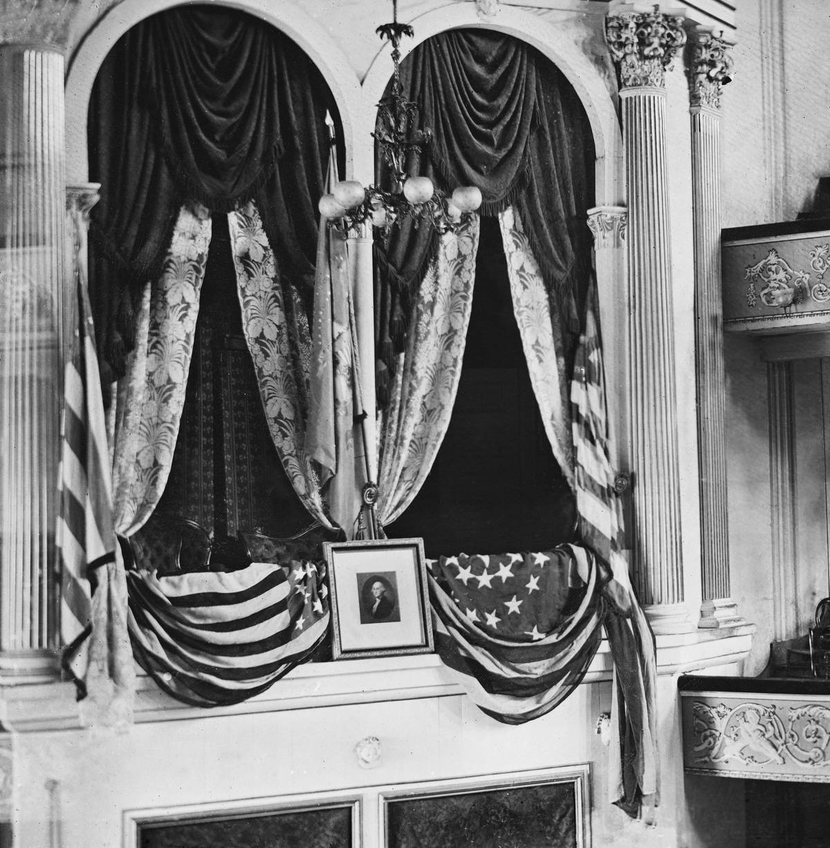 U.S. President Abraham Lincoln's Box at Ford's Theater, Washington DC, USA, April 1865