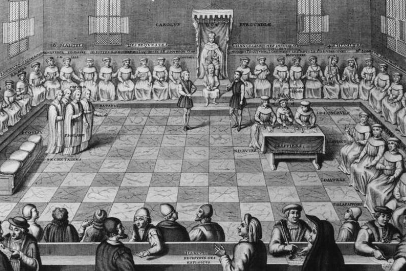 An illustration from 1470 shows Parliament in France.