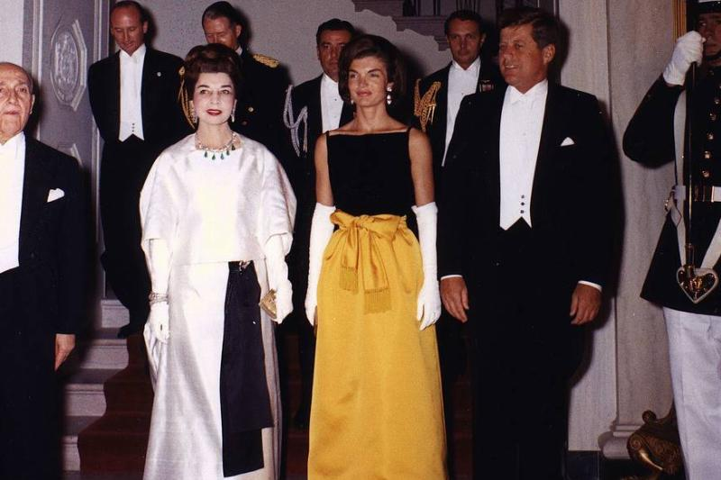Jackie Kennedy In This Black And Yellow Chez Ninon