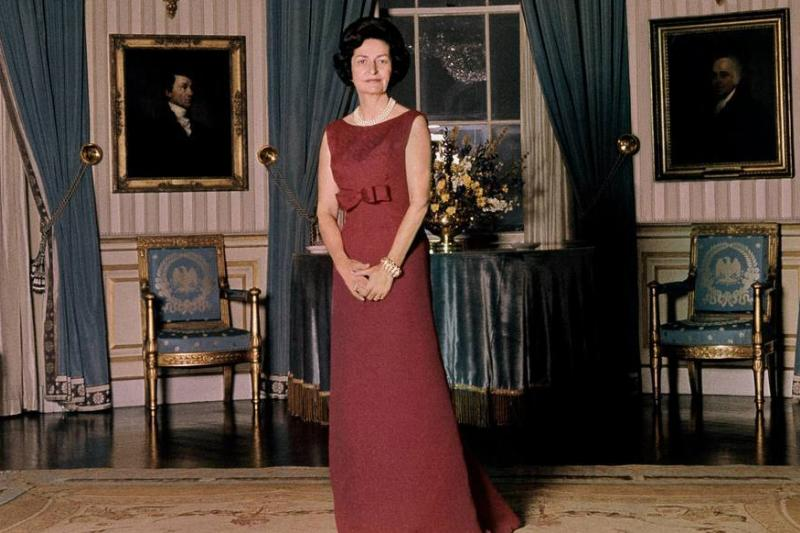 Lady Bird Johnson In Red With Multiple Pearl Accessories