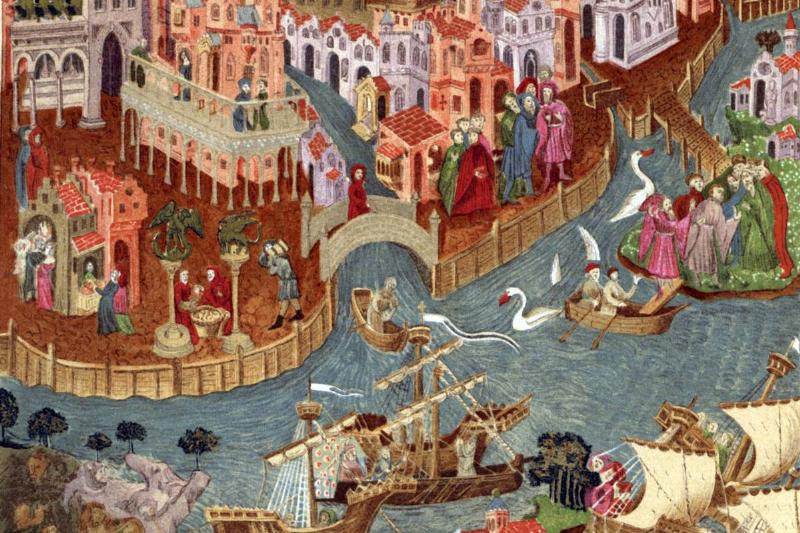 An artwork shows Venice in 1338.