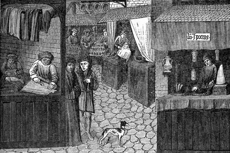 An artwork from a 15th century manuscript shows people visiting an apothecary.