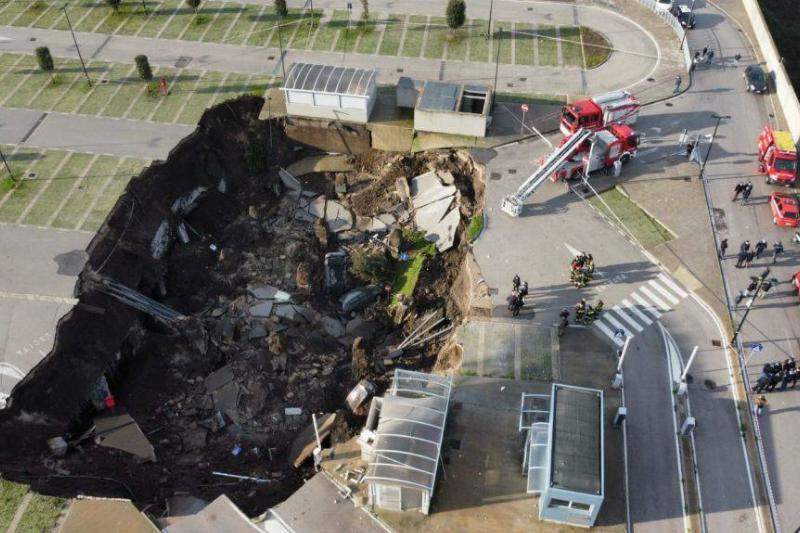 Aerial shot of a sinkhole