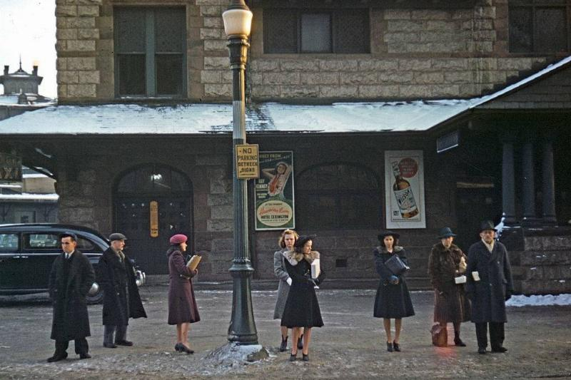 Women at a bus stop