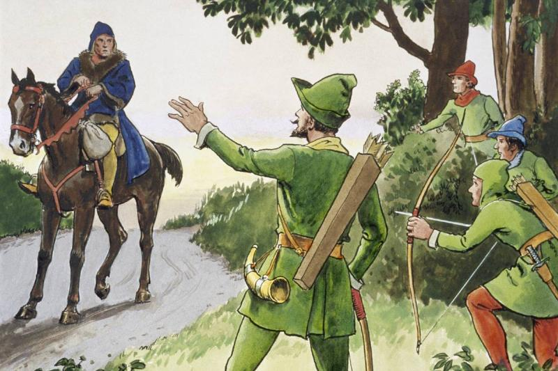 A painting shows Robin Hood and his Merry Men.
