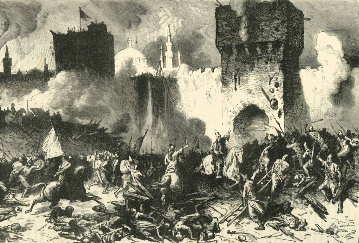 A 19th century artwork portrays the final assault on Constantinople, 1453.